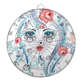 Floral Girl Face Dartboard