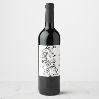 Floral Girl Red Lips Wine Label