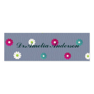 Floral,girly,cute,trendy,blue,modern,jean blue pack of skinny business cards