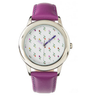 Floral Girly Purple Elegant Young Lady Charming Wrist Watch