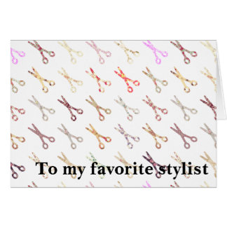 Floral girly scissors colorful hair stylist flower card