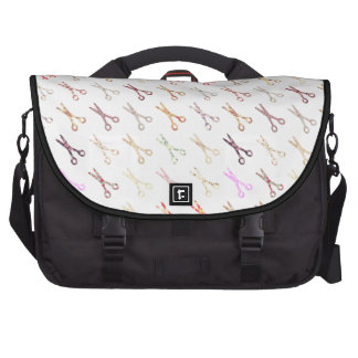 Floral girly scissors colorful hair stylist flower laptop computer bag