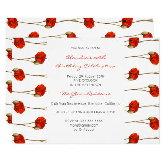 Floral Glam Red Poppy White Delicate Stripes Card