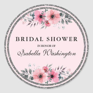 Floral Glam Silver Glitter Border Bridal Shower Classic Round Sticker