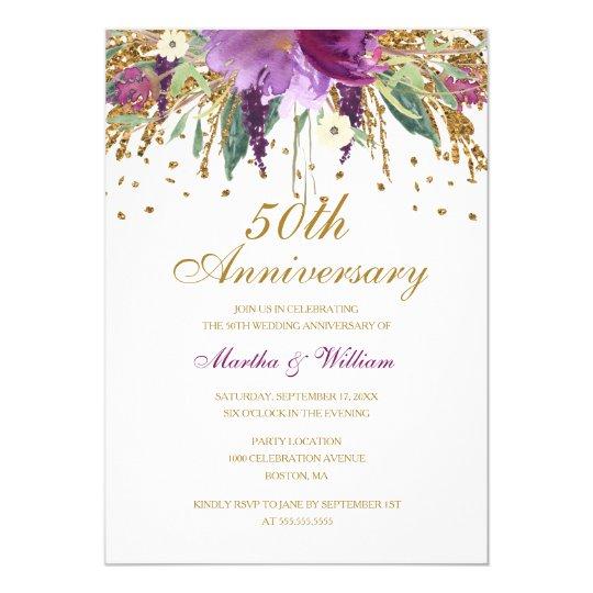 Floral Glitter Amethyst 50th Wedding Anniversary Card