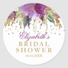 Floral Glitter Amethyst Bridal Shower Sticker