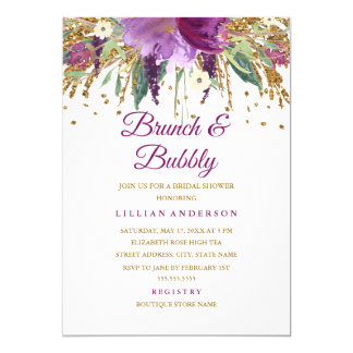 Floral Glitter Amethyst Brunch and Bubbly Card