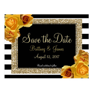 Floral & Glitter Save the Date Postcard