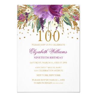 Floral Glitter Sparkling Amethyst 100th Birthday Card
