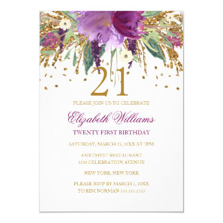 Floral Glitter Sparkling Amethyst 21st Birthday Card