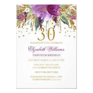 Floral Glitter Sparkling Amethyst 30th Birthday Card