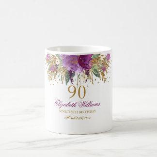 Floral Glitter Sparkling Amethyst 90th Birthday Coffee Mug