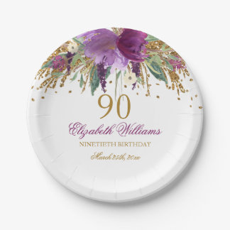 Floral Glitter Sparkling Amethyst 90th Birthday Paper Plate