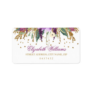 Floral Glitter Sparkling Amethyst Address Labels