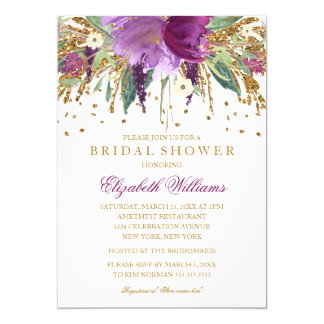 "Floral Glitter Sparkling Amethyst Bridal Shower 5"" X 7"" Invitation Card"