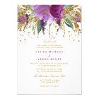 Floral Glitter Sparkling Amethyst Wedding Invite