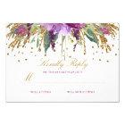 Floral Glitter Sparkling Amethyst Wedding RSVP Card