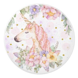 Floral Glitter Unicorn Magical Sparkle Fantasy Ceramic Knob