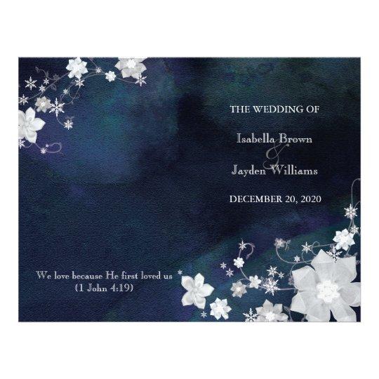 Floral Glitter Winter Wedding Bi Fold Program Flyers