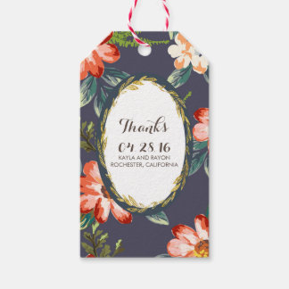 floral gold and navy wedding pack of gift tags