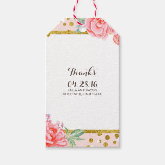 floral gold and stripes watercolor pink wedding gift tags