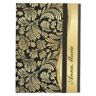 Floral Gold Black Folio iPad Case