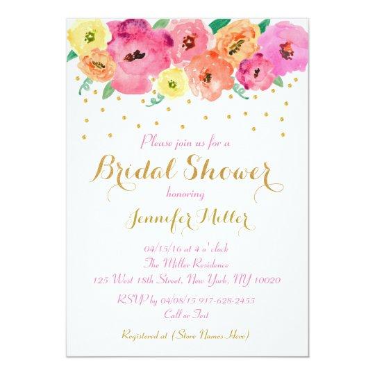 Floral Gold Confetti Bridal Shower Invitations