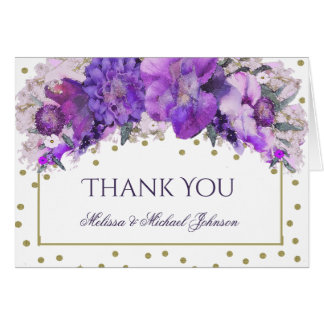 Floral Gold Confetti Purple Thank You Card