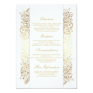 Floral Gold Filigree Imitation Wedding Details Card