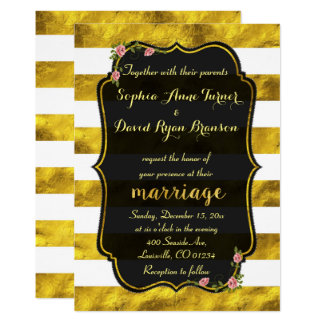Floral Gold Foil Stripes Black Wedding Invitation