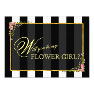 Floral Gold Foil WILL YOU BE MY FLOWER GIRL? Card