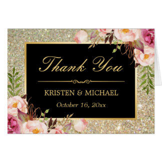 Floral Gold Glitter Sparkles Thank You Card