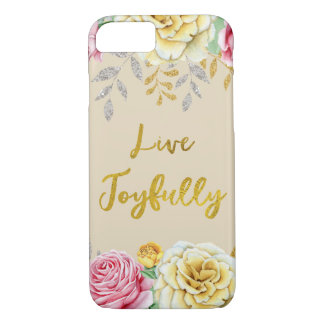 Floral Gold: Live Joyfully iPhone 8/7 Case