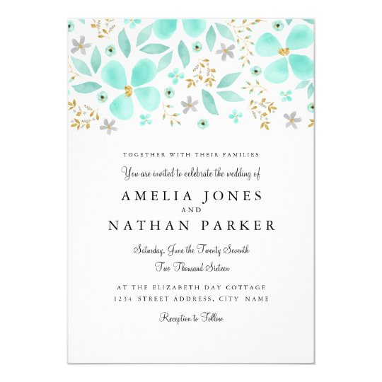 Floral Gold Mint Leaf Wedding Invitation
