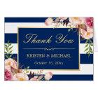 Floral Gold Navy Blue Stripes Wedding Thank You