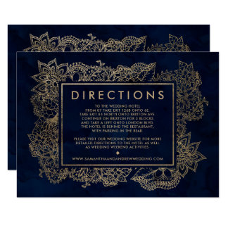 Floral gold navy blue watercolor wedding direction card