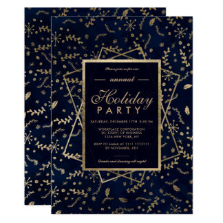 Floral Gold navy blue winter corporate holiday Card