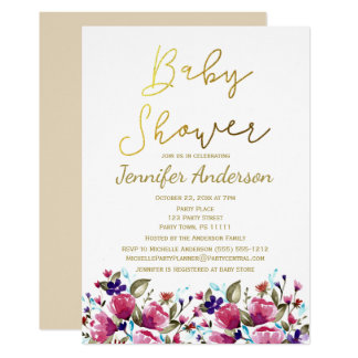Floral Gold Pink Rose Watercolor Baby Shower Card