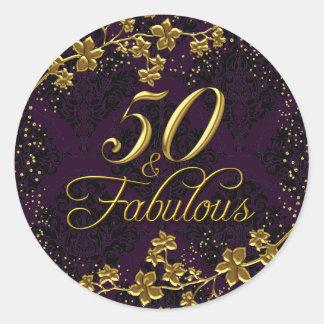 Floral Gold Purple 50 & Fabulous Birthday Sticker