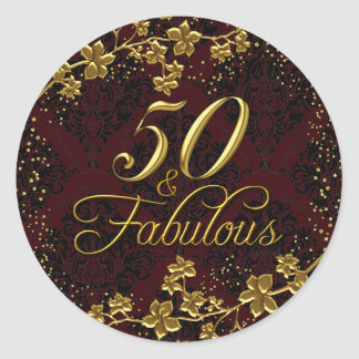 Floral Gold Red 50 & Fabulous Birthday Sticker