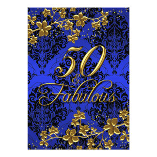 "Floral Gold Royal Blue 50 & Fabulous 2 5"" X 7"" Invitation Card"