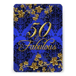 "Floral Gold Royal Blue 50 & Fabulous 2a 5"" X 7"" Invitation Card"