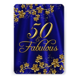 "Floral Gold Royal Blue 50 & Fabulous Birthday 5"" X 7"" Invitation Card"