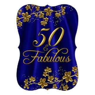 "Floral Gold Royal Blue 50 & Fabulous Birthday 5"" X 7"" Invitation Card"