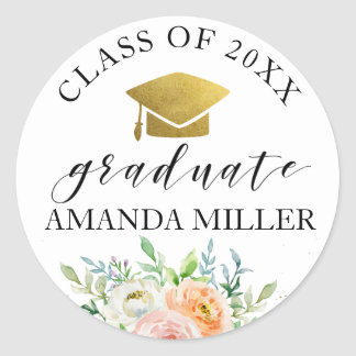 Floral graduate personalized graduation sticker