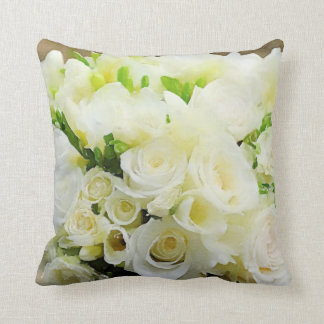 Floral Graphic White and Cream Roses Throw Pillow