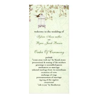 floral green bird cage, birds wedding programs custom rack cards