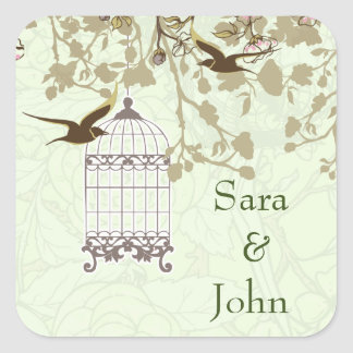 floral green bird cage, love birds envelope seal square sticker