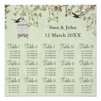 floral green bird cage, love birds  Seating Chart