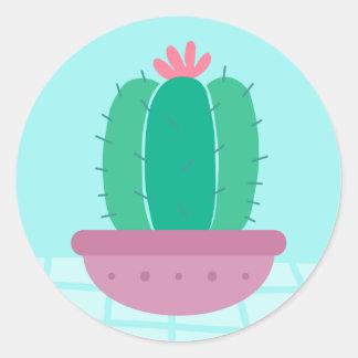 Floral Green Cactus Pink Flower Blue Southwestern Classic Round Sticker